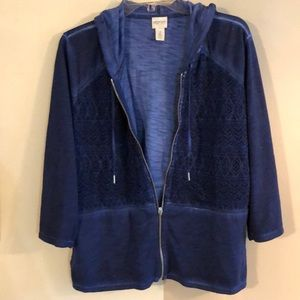 Zenergy by Chicos Navy size 2 zip up hooded jacket